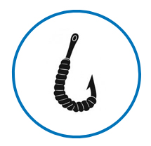 Icona amo con esca viva - servizi negozio pesca Formia